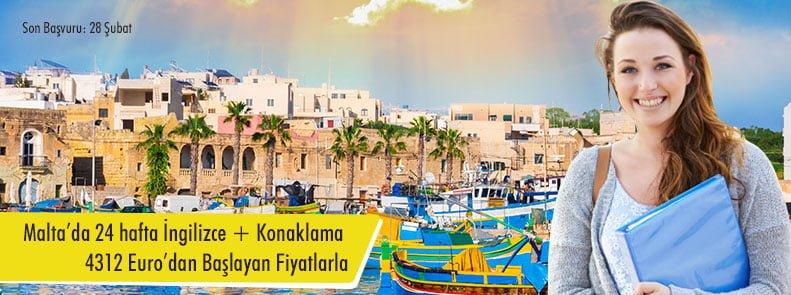 Malta'da 24 hafta İngilizce + Konaklama 4312 Euro'dan Başlayan Fiyatlarla