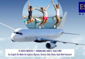 Ese English İle Malta'da İngilizce Öğrenin, Ücretsiz Gidiş-Dönüş Uçak Bileti Kazanın!